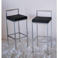Black Leather & Stainless Steel Barstool