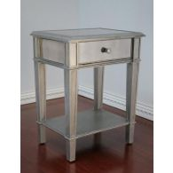 Mirrored Nightstand with One Drawer