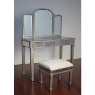 Mirrored Vanity with 1 Drawer and Tri Mirror