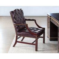 C-Suite Brown Tufted Leather Executive Arm Chair