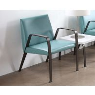 Aqua Waiting Room Chair With Bronze Finish
