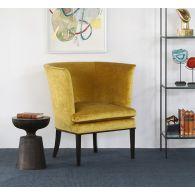 Tight Back Shelter Arm Chair In Dijon Velvet