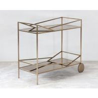 Angled Brass Bar Cart With Bronze Mirrored Shelves
