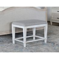 Antique White Bench With Dove Grey Linen Top