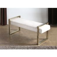Jet Set Bench in White Fabric with Square Brass Legs