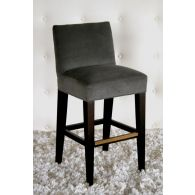 Gray Velvet Bar Stool with Brass Footrail