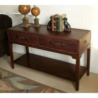 Leather Steamer Trunk Console