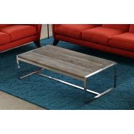 Reclaimed Wood and Stainless Steel Coffee Table