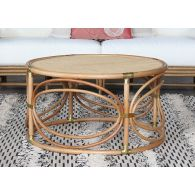 South Seas Rattan Coffee Table W/Brass Accents