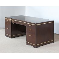 C-Suite Dark Wood Executive Desk with Gold Accent