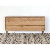 Danish Modern Natural Oak 6 Drawer Dresser With Brass