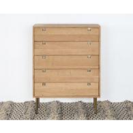 Danish Modern Natural Oak 5 Drawer Dresser With Brass