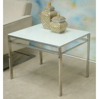 Mitchell Gold Emilio Square Side Table with White Glass Top