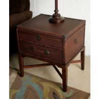 Leather Steamer Trunk End Table