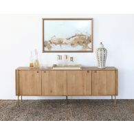 Danish Modern Natural Oak Sideboard With Brass Legs