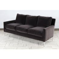 Modern 3 Seat Sofa In Smoke Gray Velvet
