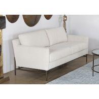 Natural Boucle Sofa On Bronze Iron Base