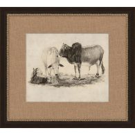 Antique Grazing Cows 19W x 17H