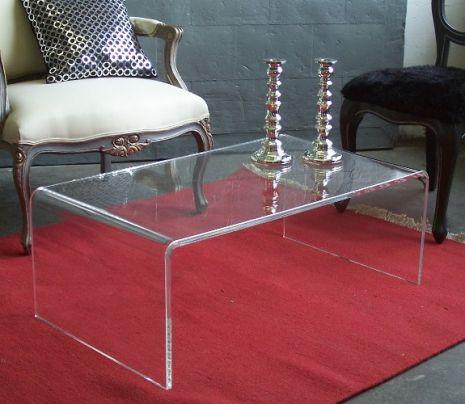 Clear Acrylic Waterfall Coffee Table