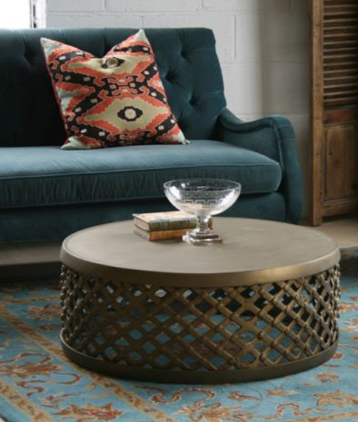 Matte Brass Drum Coffee Table