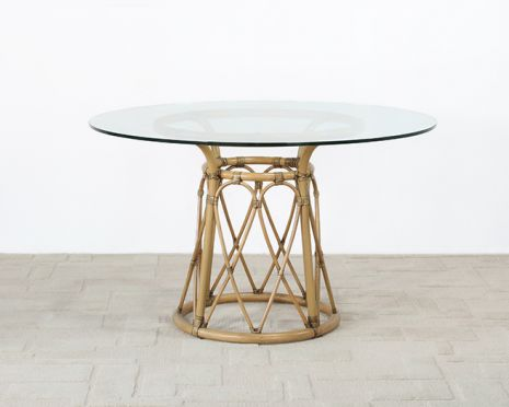 Rattan Pedestal Dining Table W 48 Round Glass Top