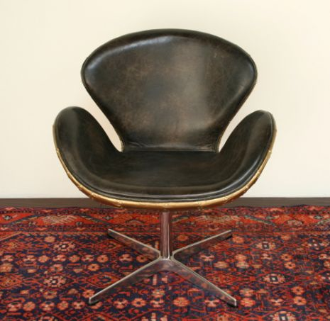 Distressed Brown Leather Desk Chair With Riveted Brass