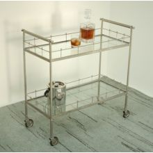 Lisbon Vintage Silver and Glass Bar Cart