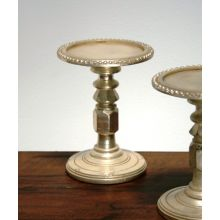 Silver-Plated Wood Pillar Candlestick (Pair)