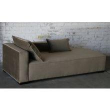 Contemporary Mushroom Velvet Chaise Lounge (Left Arm when Facing)