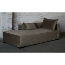 Contemporary Mushroom Velvet Chaise Lounge (Right Arm when Facing)