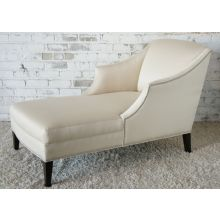 Mitchell Gold Lauralee Chaise in Vanilla Upholstery with Nickel Nailhead Trim