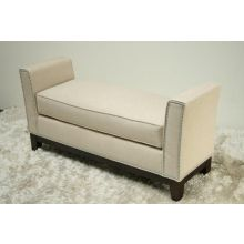Cream Upholstered Bench with Nailhead Trim