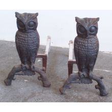 Pair of Antique Owl Andirons
