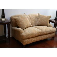 George Smith Style Loveseat in Honey Paisley Fabric