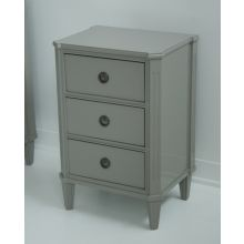 Chelsea Textiles Gustavian Bedside Table with Three Drawers in Ash Gray Lacquer