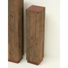 Medium Reclaimed Red Wood and Teak Pedestal