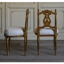 Vintage Petite Gold Gilt Side Chair with Lyre Back (For Decor Only)
