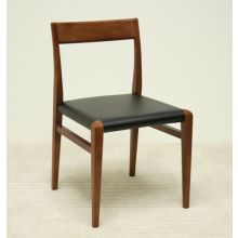 Walnut and Black Leather Dining Chair