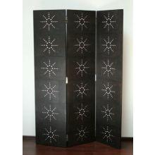 Black Shagreen Leather Floor Screen