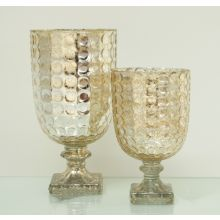 Set of 2 Antiqued Gold Goblet Tealight Candle Holder Vases