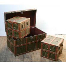Set of 3 Fleur de Lis Trunks with Leather Straps
