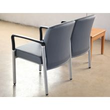 Gray Upholstered 2-Seater Waiting Room Chair