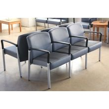 Gray Upholstered 3-Seater Waiting Room Chair