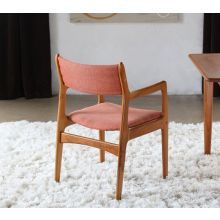 Danish Modern Arm Chair with Orange Upholstery