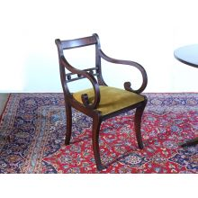 Regency Style Mahogany Dining Room Chair with Arms, Circa 1960