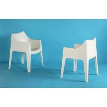Molded Plastic Stacking Arm Chair in Off White