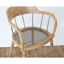 Wood Spindle Back Chair with Iron Spindles and Metal Seat