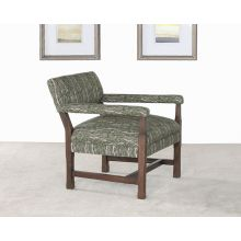 Soho Evergreen Arm Chair In Pecan Finish