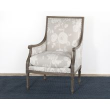 French Style Floral Print Linen Armchair
