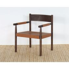 Stained Ash Arm Chair W/Chestnut Leather Seat
